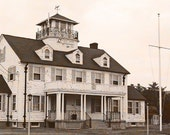 Barnegat Coast Guard Station Photography Nautical Photo New Jersey Vintage Sepia Black and White Home Decor Fine Art Landscape
