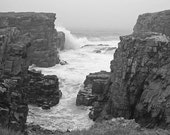 Ocean Cliff Photography Landscape Black and White Elliston Ocean Waves Newfoundland Canada End of the World Wall Art By Celtic Cat Photos