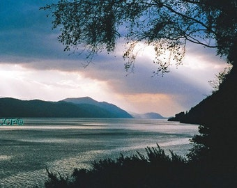 Scotland Photography Loch Ness Landscape Photo Blue Gray And Silver Lake Photograph Fine Art Print Highland Lake 5x7 Wall Decor Office Decor