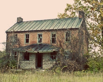 Farm House, Old House, Landscape Photography,  Rural House, Abandoned Home, Art Print, Vintage Style Print, Red Brick, Teal Green Roof
