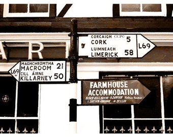Irish Road Signs, Ireland Photograph, Irish Print, Cork, Limerick, Killarney Ireland, Sepia Photo, Irish Decor, Office Artwork, Wall Decor
