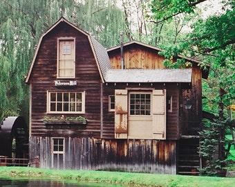 Peterson Mill  Michigan Photography Fine Art Photo Office Decor Wall Decor Old Mill Borwn And Green Historic Mill Michigan Decor