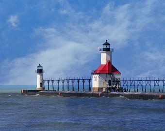 Lighthouse Photo Saint Joseph Light St Joe Light Michigan Photography 5 x 7 Print Blue White Nautical Photography Home Decor Apartment Decor
