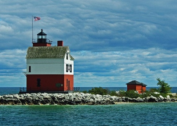 Round Island Lighthouse Photography Nautical Red Blue Turquoise Landscape Michigan Lighthouse Photography Island Light Print
