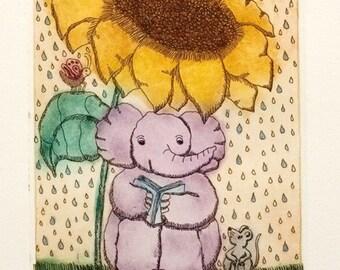 etching, Storytime, Mariann Johansen-Ellis, elephant, mouse, sunflower, nursery art, reading, printmaking, art for children