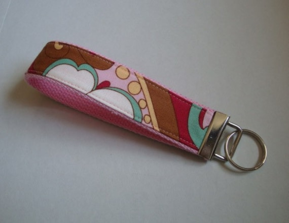 BLOWOUT SALE Pink Floral Key Fob / Key Chain