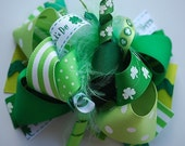 boutique FUNKY fun ST PATTYS day hair bow clip