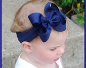 boutique NAVY headband bow bowband
