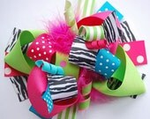boutique FUNKY fun bright ZEBRA hair bow clip