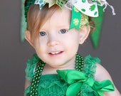 boutique CLASSIC SHAMROCK over the top hair bow with headband