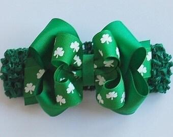 boutique LUCKY SHAMROCK St Patrick's Day headband bow