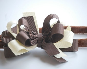 boutique triple layer BROWN and IVORY bow on a skinny headband