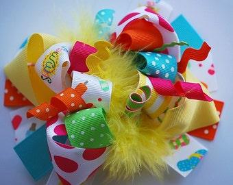 boutique FUNKY fun hello SUMMER hair bow clip