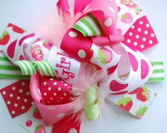 over the top hair bow. strawberry shortcake hair bow. hot pink hair bow. lime green hair bow. character hair bow.