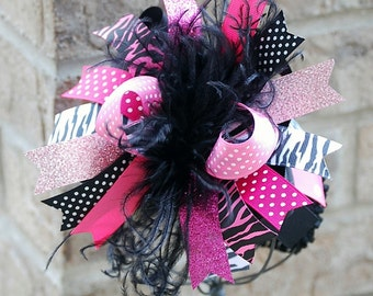 boutique HOT PINK and ZEBRA over the top bow with headband