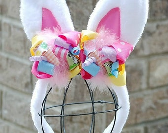 boutique EASTER BUNNY EARS funky fun headband