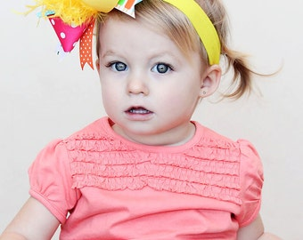 boutique SUMMER FUN over the top hair bow on a headband