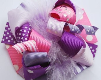 boutique FUNKY fun PINK and PURPLE hair bow clip