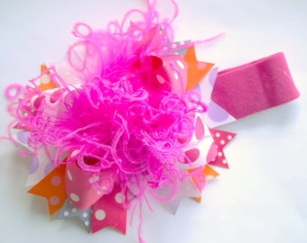 boutique CREATE YOUR OWN over the top mini hair bow with clip or headband
