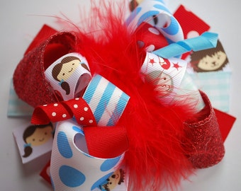 boutique DOROTHY OF OZ funky fun hair bow on an alligator clip