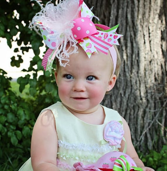 NEW over the top STRAWBERRY GIRL headband bow