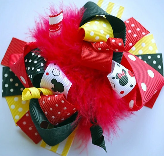 boutique MOUSE VACATION funky fun hair bow clip
