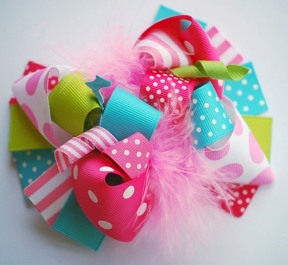 boutique LILY PAD FUNKY fun hair bow clip