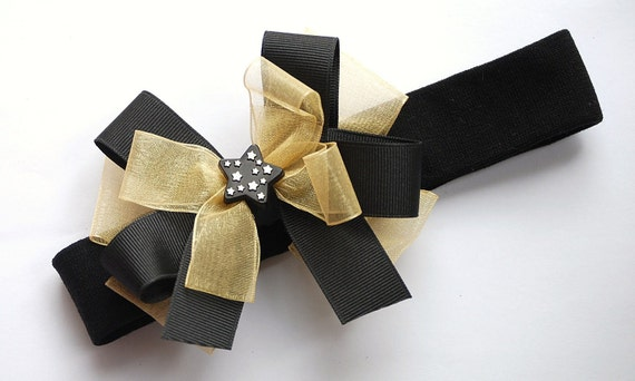 SAMPLE SALE black and gold star bow on a headband
