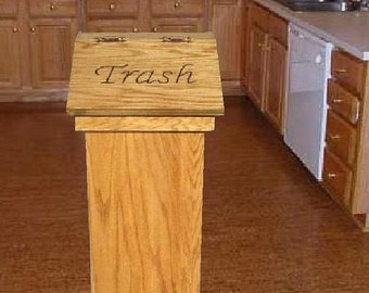 Kitchen wood trash can or wastebasket can be used for pet food personalized lid makes a great gift