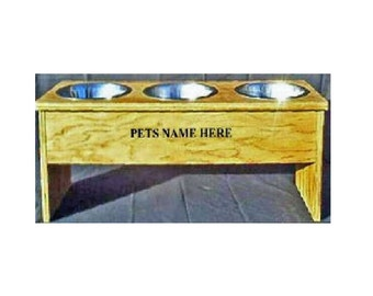 Elevated raised 3 dog bowl 10 1/2 inches no cost for pet names