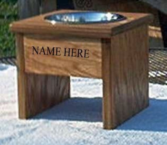 Raised elevated single dog bowl 10 1/2 inches tall no cost for pet names
