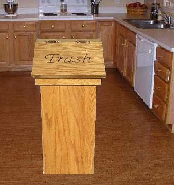Kitchen Wood Trash Can Or Wastebasket Can Be By Olewoodcrafter