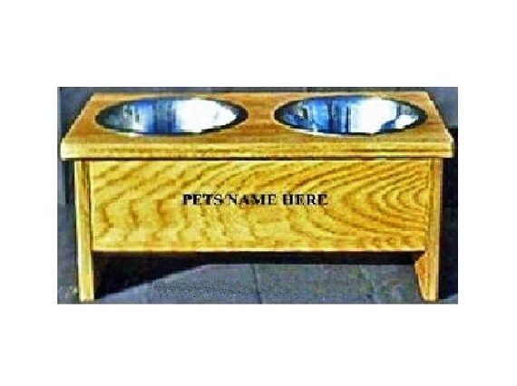 Elevated raised dog bowl 8 inches tall free names on feeder