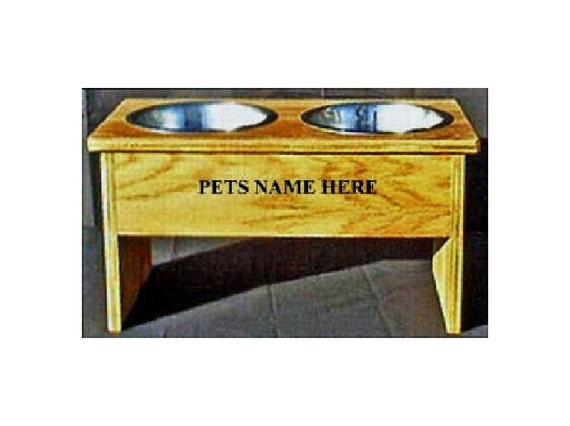 Elevated 12 inches tall dog bowl feeder no cost for pet names