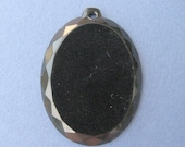 RESERVE LISTING - RESERVED FOR LIZLAW JEWELRY - Cameo Backing - Black Faceted Glass