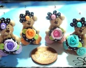 Bear with Rose Button Polymer Clay Charm Bead, Bow Center, Scrapbooking