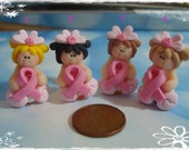 Pink Ribbon Girl Polymer Clay Charm Bead Scrapbooking Hair Bow Center