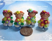 Blossom Girl Polymer Clay Charm Bead, Scrapbooking, Bow Center, Pendant, Cupcake topper, Magnet
