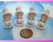 Winter Princess Polymer Clay Charm Bead Scrapbooking Embelishment Bow Center Pendant