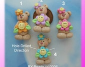 Bear with Happy Flower Polymer Clay Charm Bead Scrapbooking Embelishment Bow Center Pendant Cake Topper