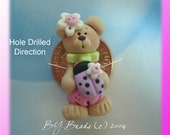 SALE Bear with Lavender Ladybug Flower Polymer Clay Charm Bead Scrapbooking Embelishment Bow Center Pendant Cupcake Topper