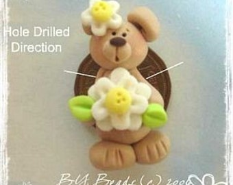 SALE Bear with Daisy Polymer Clay Bead Charm, Scrapbooking, Bow Center, Pendant