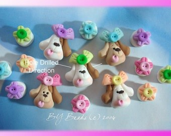 Cute Dogs Set Polymer Clay Charm Bead