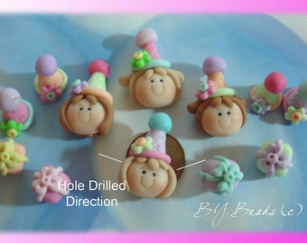 BIrthday Girl Polymer Clay Scapbooking Bead