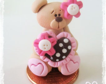 Valentines Bear with Polka Dot Heart Polymer Clay Charm Bead Scrapbooking Bow Center