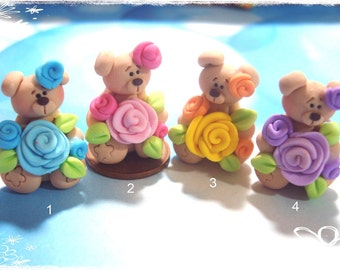 Bear with Rose Polymer Clay Charm Bead, Scrapbooking, Bow Center, Pendant, Cupcake topper, Magnet