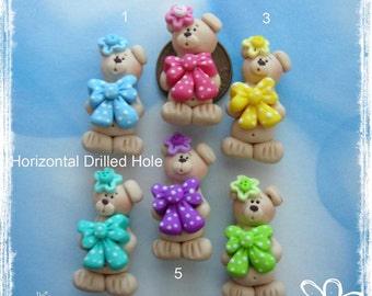Bear wt Bow Polymer Clay Charm Bead, Scrapbooking, Bow Center, Pendant, Cupcake topper, Magnet