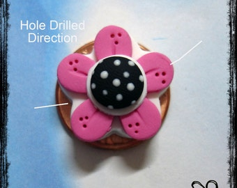Pink Retro Flower Polymer Clay Charm Bead, Scrapbooking, Bow Center, Pendant, Cupcake topper, Magnet