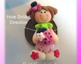 Ladybug Girl Polymer Clay Charm Bead Scrapbooking Embelishment Bow Center Pendant Cupcake Topper