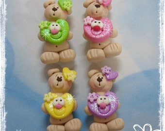 Standing Bear wt Sparkly Heart Polymer Clay Charm Bead, Scrapbooking, Bow Center, Pendant, Cupcake topper, Magnet, Ring